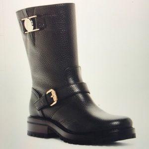 Versace pebble leather boot